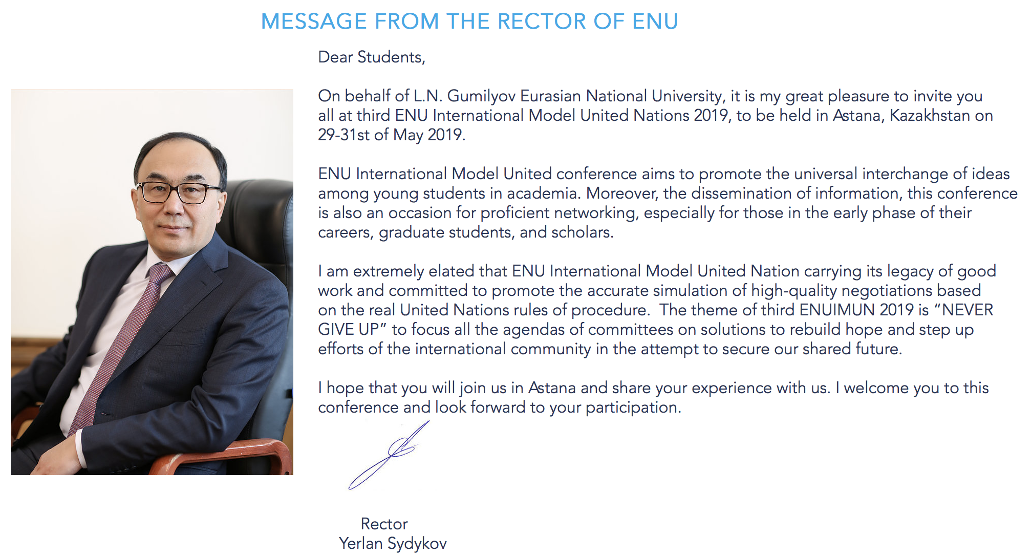 MESSAGE FROM ENU RECTOR